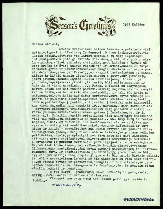 Bernardo Brazdžionio 1981 m. gruodžio 25 d. laiškas Juozui Poviloniui