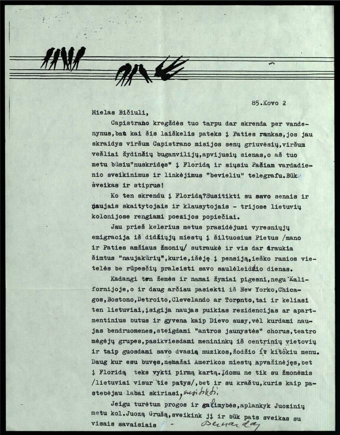 Bernardo Brazdžionio 1985 m. kovo 2 d. laiškas Juozui Poviloniui