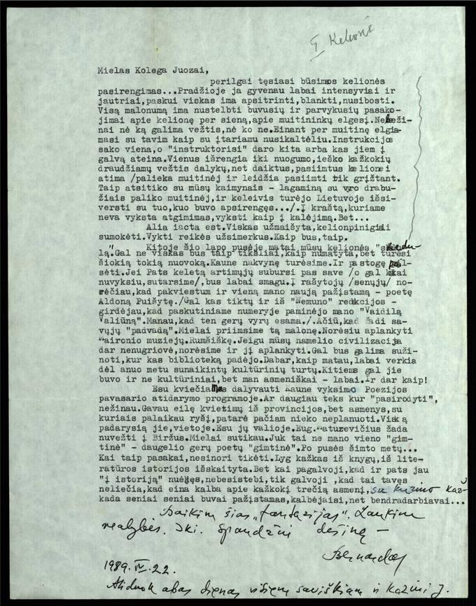 Bernardo Brazdžionio 1989 m. balandžio 22 d. laiškas Juozui Poviloniui