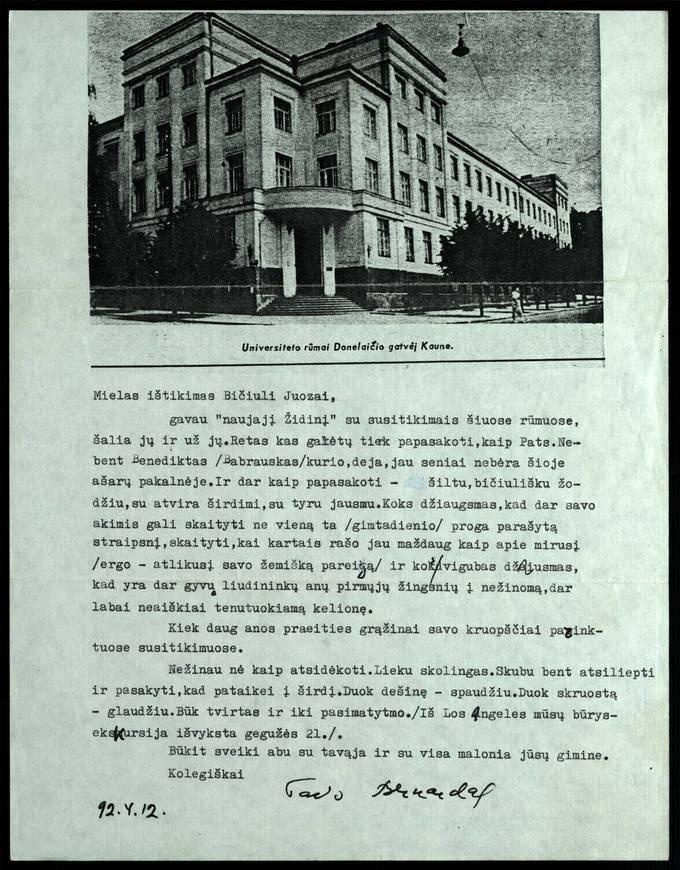 Bernardo Brazdžionio 1992 m. balandžio 12 d. laiškas Juozui Poviloniui