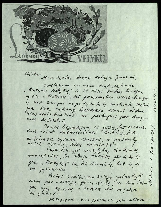 Bernardo Brazdžionio 1998 m. balandžio 3 d. laiškas Juozui Poviloniui