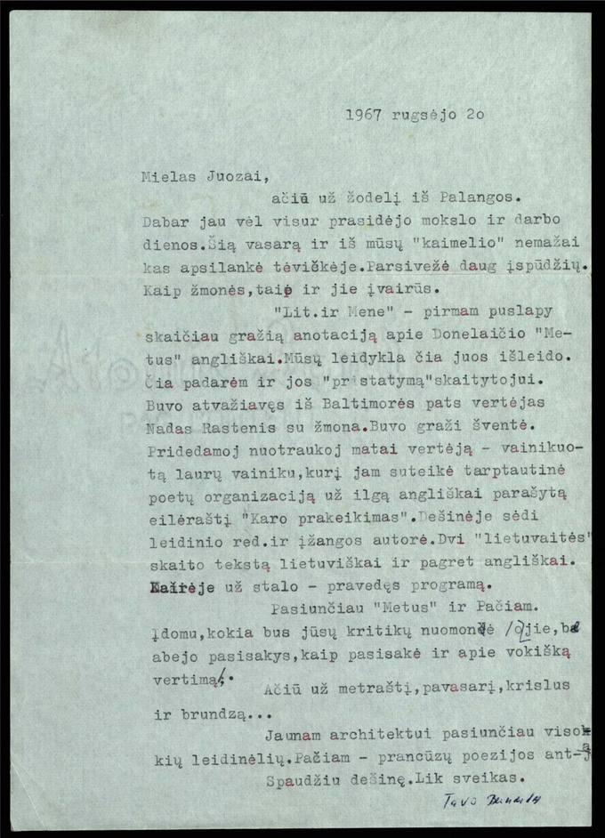 Bernardo Brazdžionio 1967 m. rugsėjo 20 d. laiškas Juozui Poviloniui