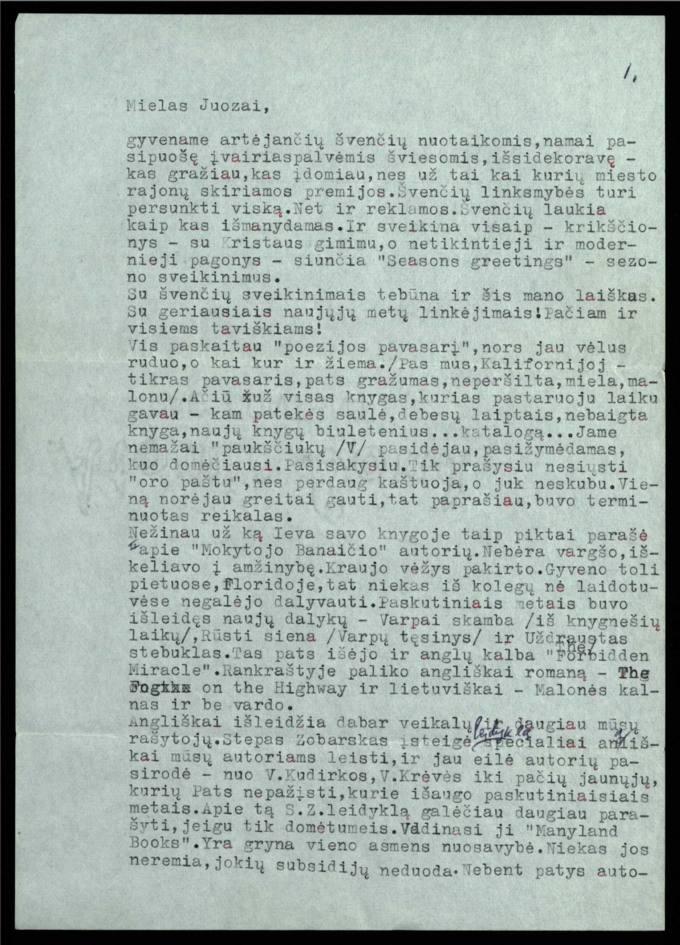 Bernardo Brazdžionio 1966 m. gruodžio 17 d. laiškas Juozui Poviloniui