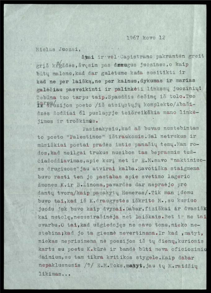 Bernardo Brazdžionio 1967 m. kovo 12 d. laiškas Juozui Poviloniui