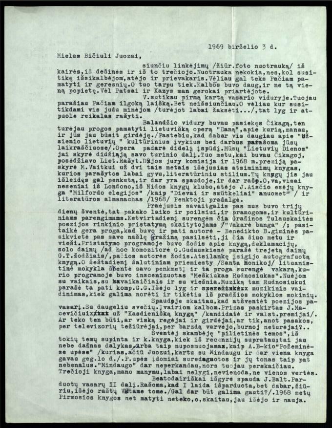 Bernardo Brazdžionio 1969 m. birželio 3 d. laiškas Juozui Poviloniui