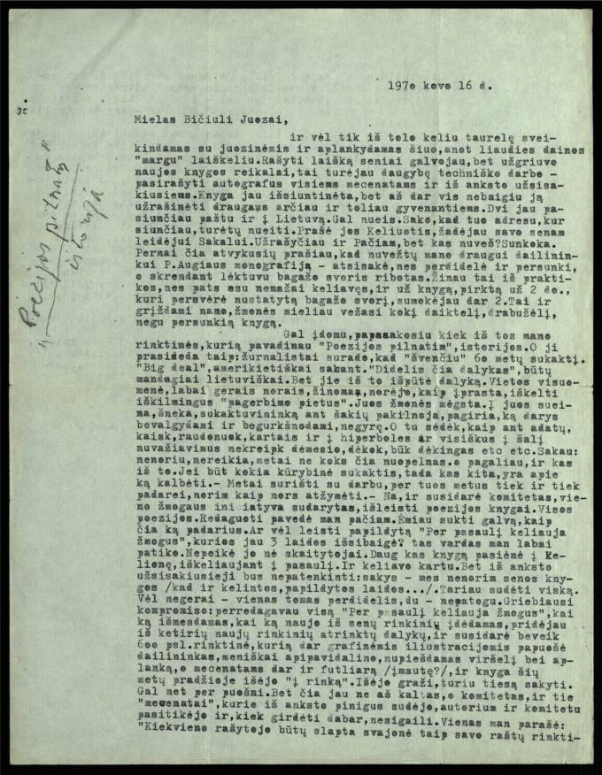Bernardo Brazdžionio 1970 m. kovo 16 d. laiškas Juozui Poviloniui