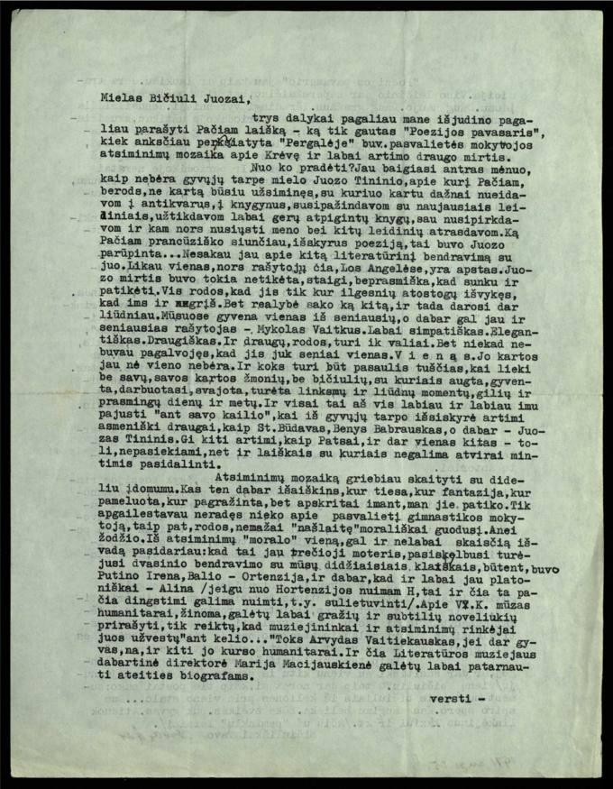 Bernardo Brazdžionio 1971 m. rugsėjo 25 d. laiškas Juozui Poviloniui