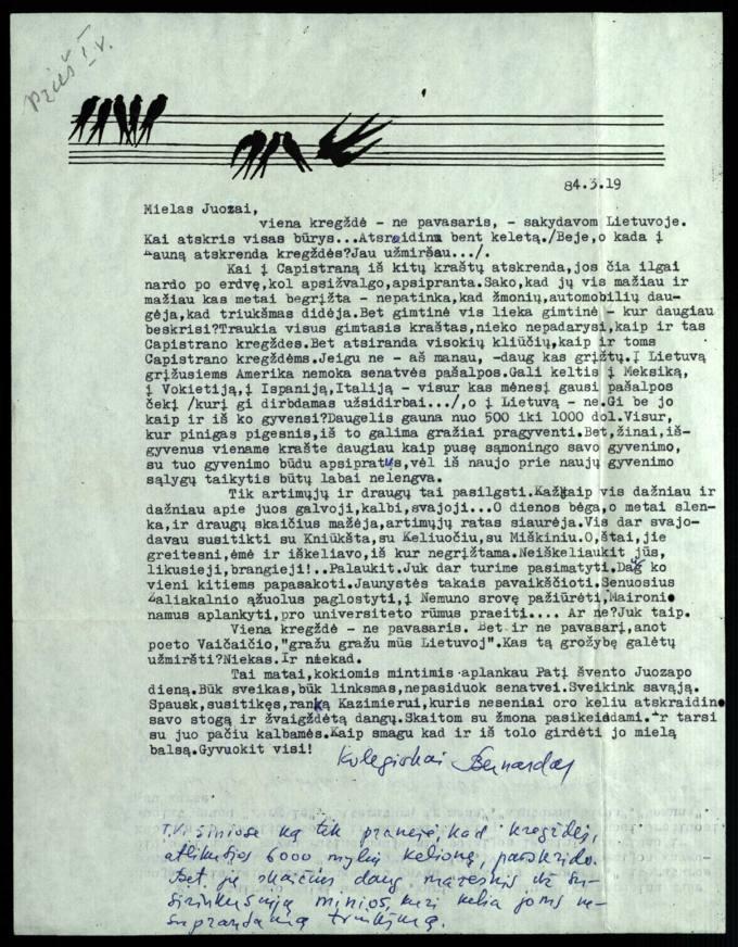 Bernardo Brazdžionio 1984 m. kovo 19 d. laiškas Juozui Poviloniui