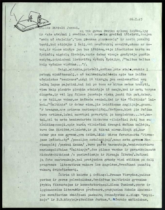 Bernardo Brazdžionio 1986 m. sausio 23 d. laiškas Juozui Poviloniui