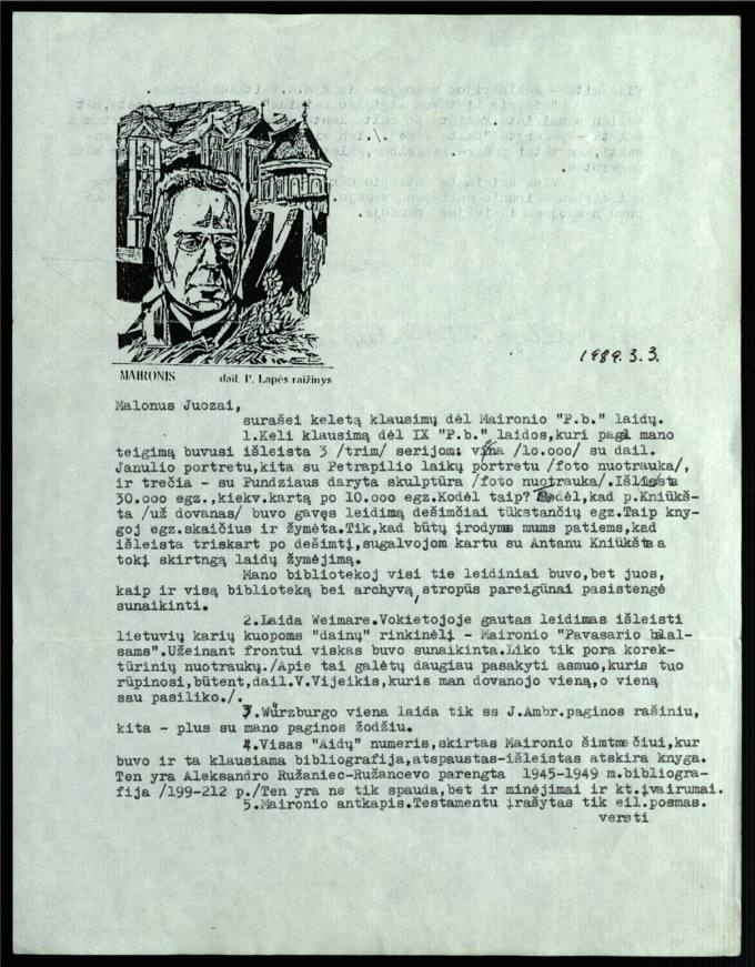 Bernardo Brazdžionio 1989 m. kovo 3 d. laiškas Juozui Poviloniui