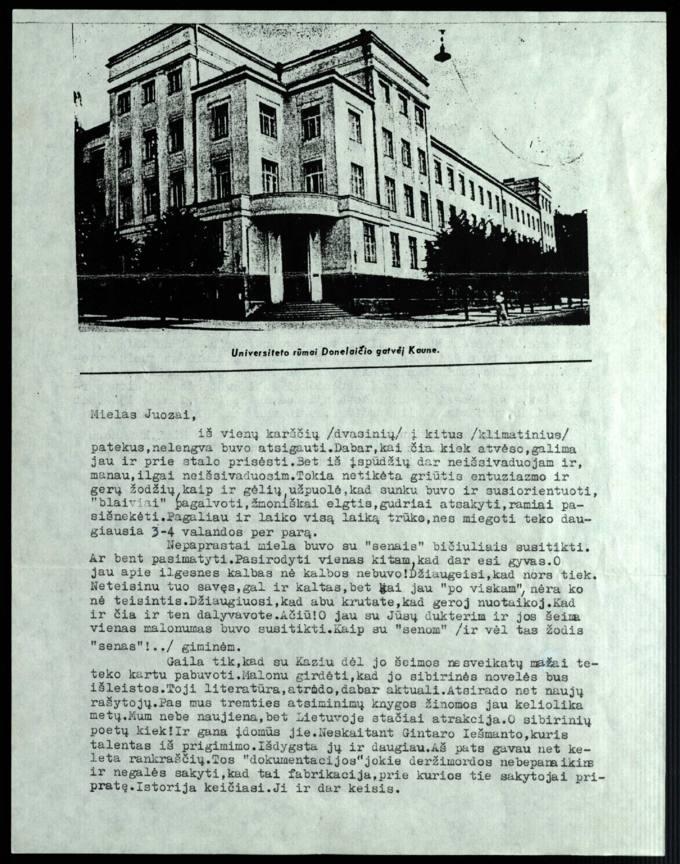 Bernardo Brazdžionio 1989 m. liepos 7 d. laiškas Juozui Poviloniui