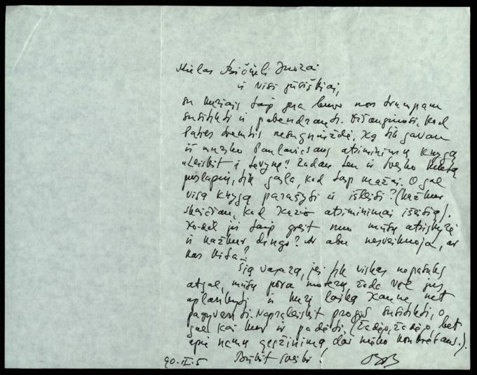 Bernardo Brazdžionio 1990 m. vasario 5 d. laiškas Juozui Poviloniui