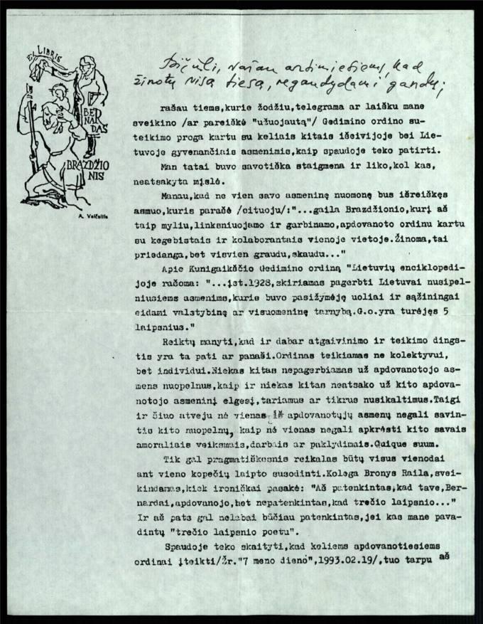 Bernardo Brazdžionio 1993 m. birželio 5 d. laiškas Juozui Poviloniui