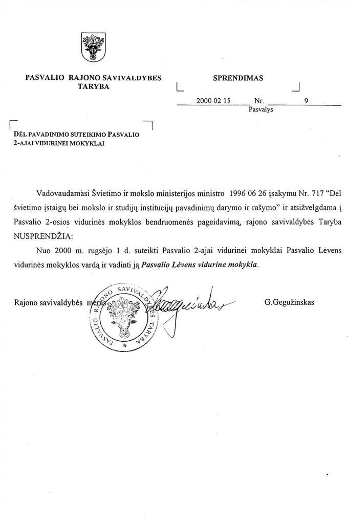 Pasvalio rajono savivaldybės tarybos sprendimas dėl pavadinimo suteikimo Pasvalio 2-ajai vidurinei mokyklai