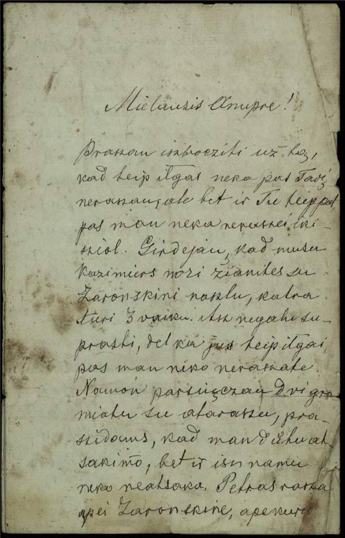 Antano Vileišio 1885 m. gruodžio 31 d. laiškas broliui Anuprui Vileišiui