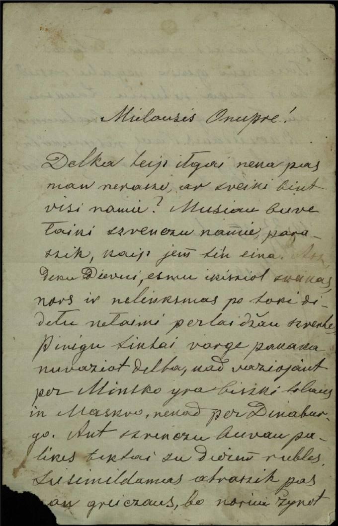 Antano Vileišio 1886 m. balandžio 22 d. laiškas broliui Anuprui Vileišiui
