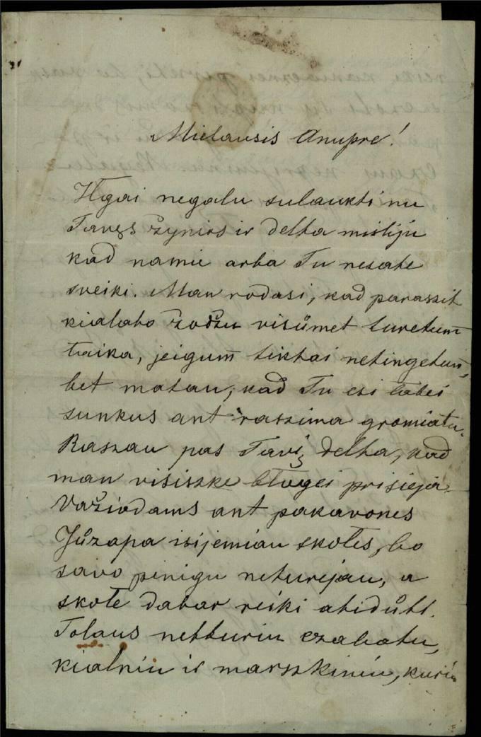 Antano Vileišio 1886 m. gegužės 2 d. laiškas broliui Anuprui Vileišiui