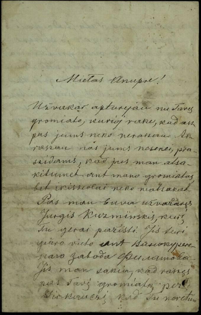 Antano Vileišio 1887 m. kovo 16 d. laiškas broliui Anuprui Vileišiui