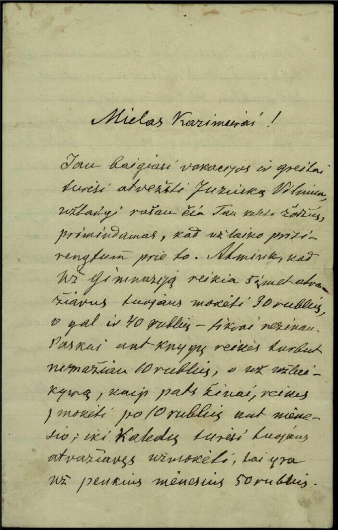 Antano Vileišio 1907 m. rugpjūčio 2 d. laiškas broliui Kazimierui Vileišiui