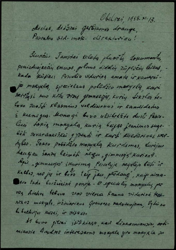 Juozo Avižonio 1958 m. lapkričio 13 d. laiškas Pasvalio vidurinės mokyklos direktoriui Juozui Dulskiui