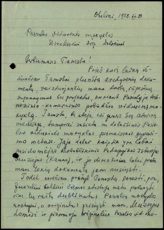 Juozo Avižonio 1958 m. gruodžio 28 d. laiškas Pasvalio vidurinės mokyklos direktoriui Juozui Dulskiui