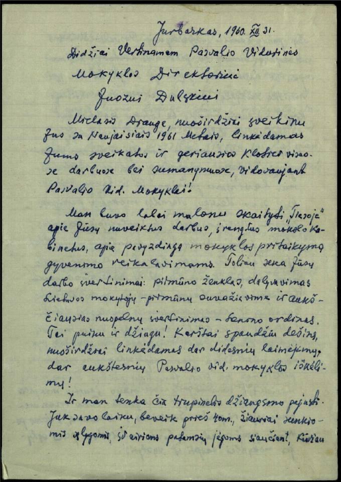 Juozo Avižonio 1960 m. gruodžio 31 d. laiškas Pasvalio vidurinės mokyklos direktoriui Juozui Dulskiui