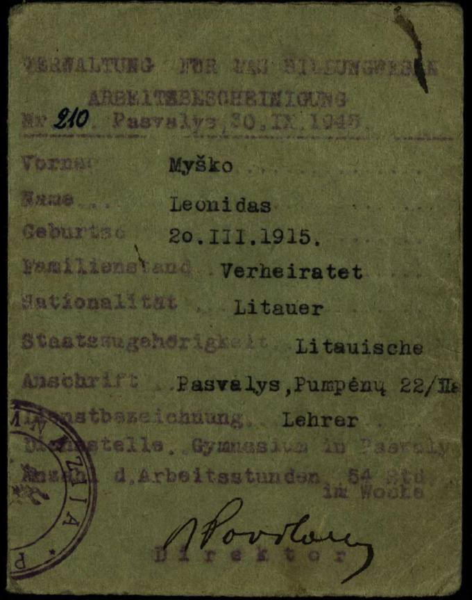 Pasvalio gimnazijos mokytojo Leonido Myško Antrojo pasaulinio karo metų darbo pažymėjimas
