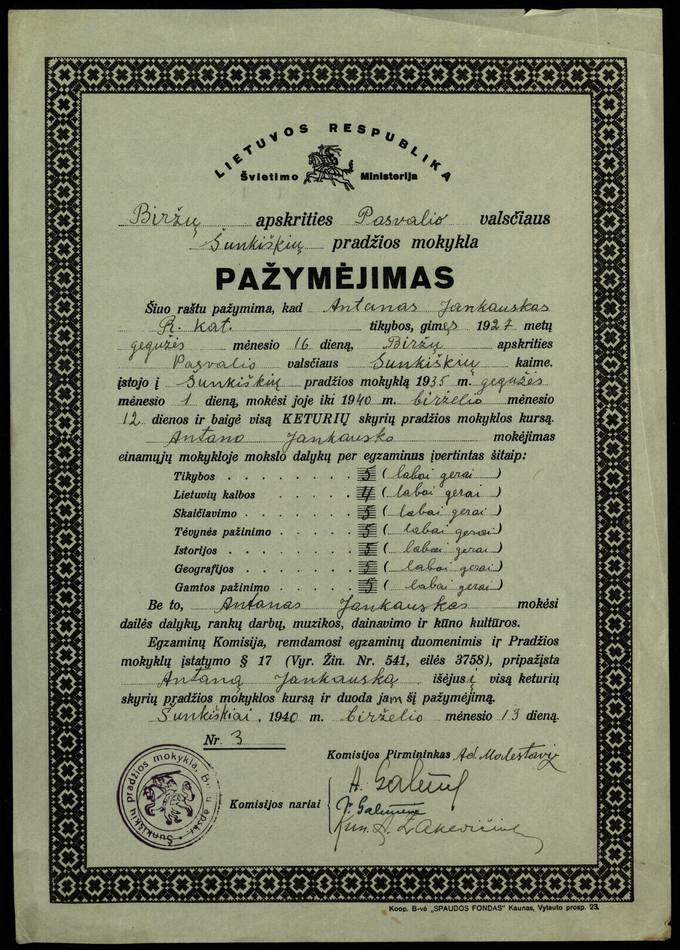 Antano Jankausko Šunkiškių pradžios mokyklos baigimo pažymėjimas