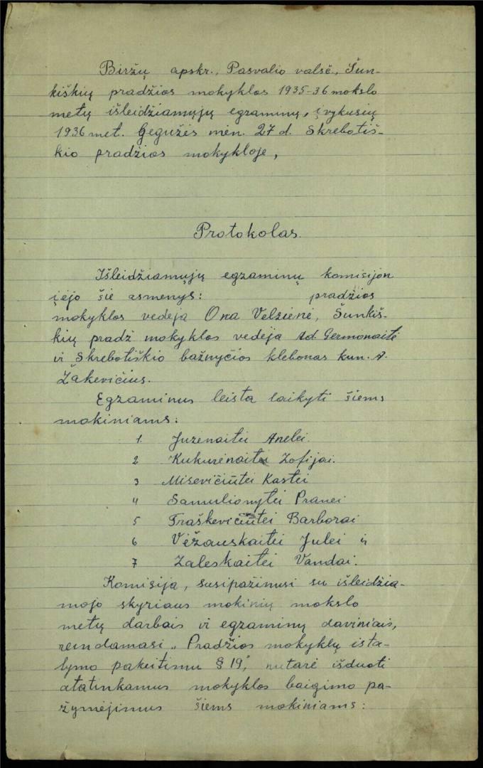 Šunkiškių pradžios mokyklos 1935–1936 mokslo metų išleidžiamųjų egzaminų protokolas
