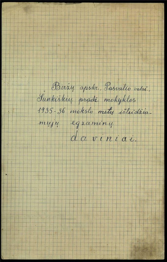Šunkiškių pradžios mokyklos 1935–1936 mokslo metų išleidžiamųjų egzaminų daviniai