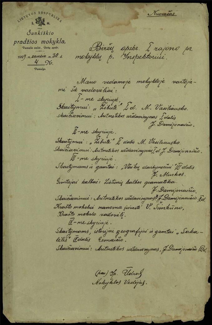 Šunkiškių pradžios mokyklos vedėjo Ipolito Ūdro 1929 metų sausio 30 dienos raštas Biržų apskrities I rajono pradžios mokyklų Inspektoriui
