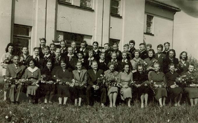 Pasvalio aštuonmetės (dabar – Svalios) mokyklos mokytojai ir mokiniai