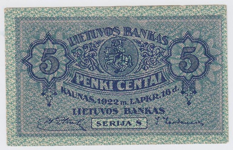 Banknotas. 5 centai. 1922 m. lapkričio 16 d. Lietuva