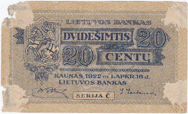 Banknotas. 20 centų. 1922 m. lapkričio 16 d. Lietuva
