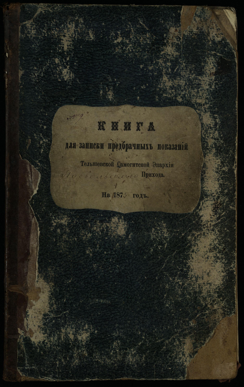 Pasvalio Romos katalikų parapijos bažnyčios 1876–1885 metų priešjungtuvinės apklausos knyga
