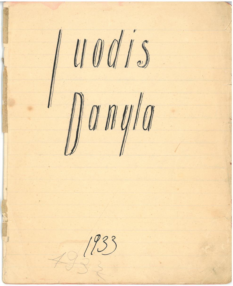 Albino Vaitkaus (Mariaus Katiliškio) eilėraščių sąsiuvinis. Pasirinktas slapyvardis – Juodis Danyla. 1933 m.