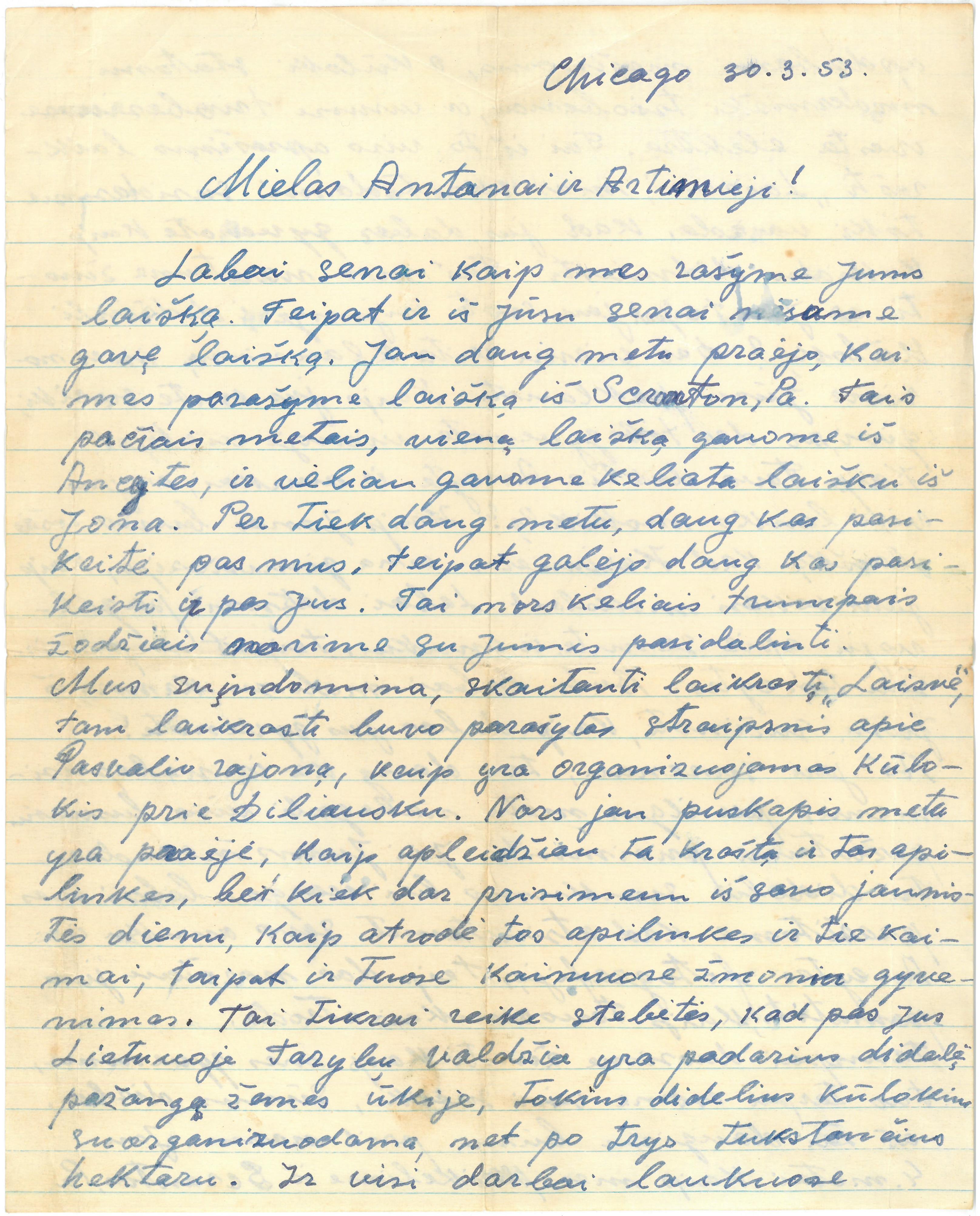 Kazio Balčiūno (slapyv. K. Chesek) laiškas  artimiesiems. 1953 m. kovo 30 d.