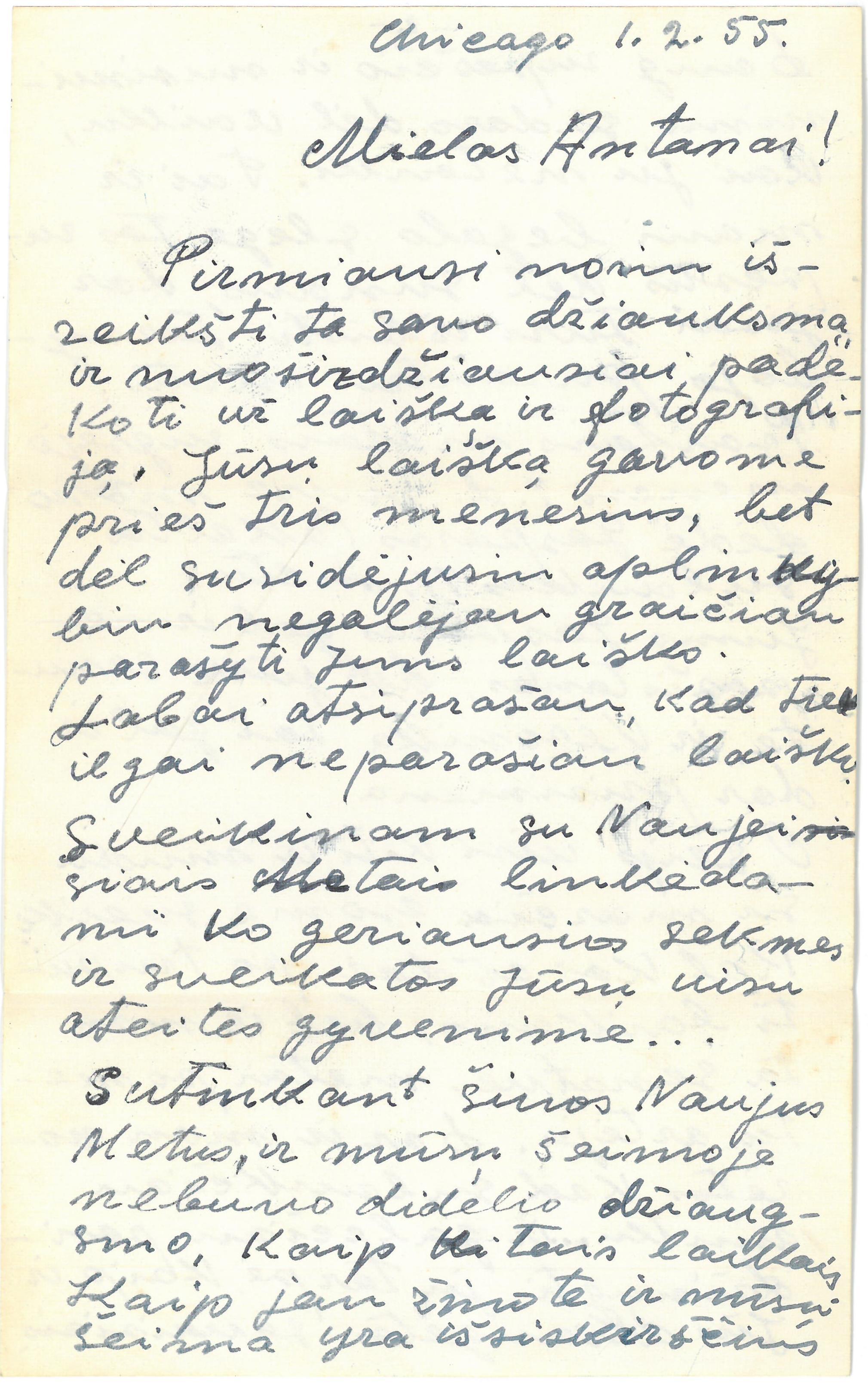 Kazio Balčiūno (slapyv. K. Chesek) laiškas  artimiesiems. 1955 m. vasario 1 d.