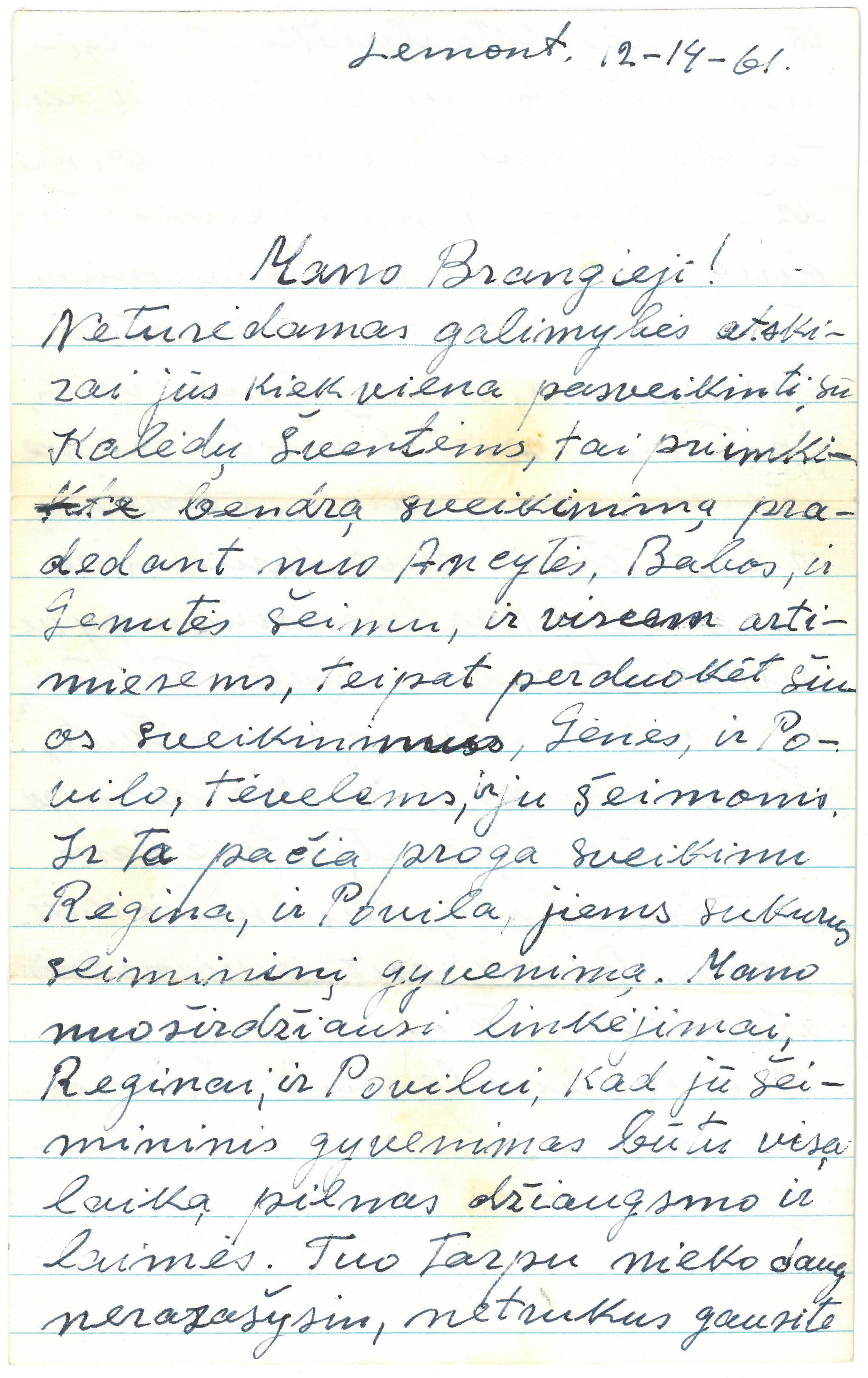 Kazio Balčiūno (slapyv. K. Chesek) laiškas  artimiesiems. 1961 m. gruodžio 14 d.