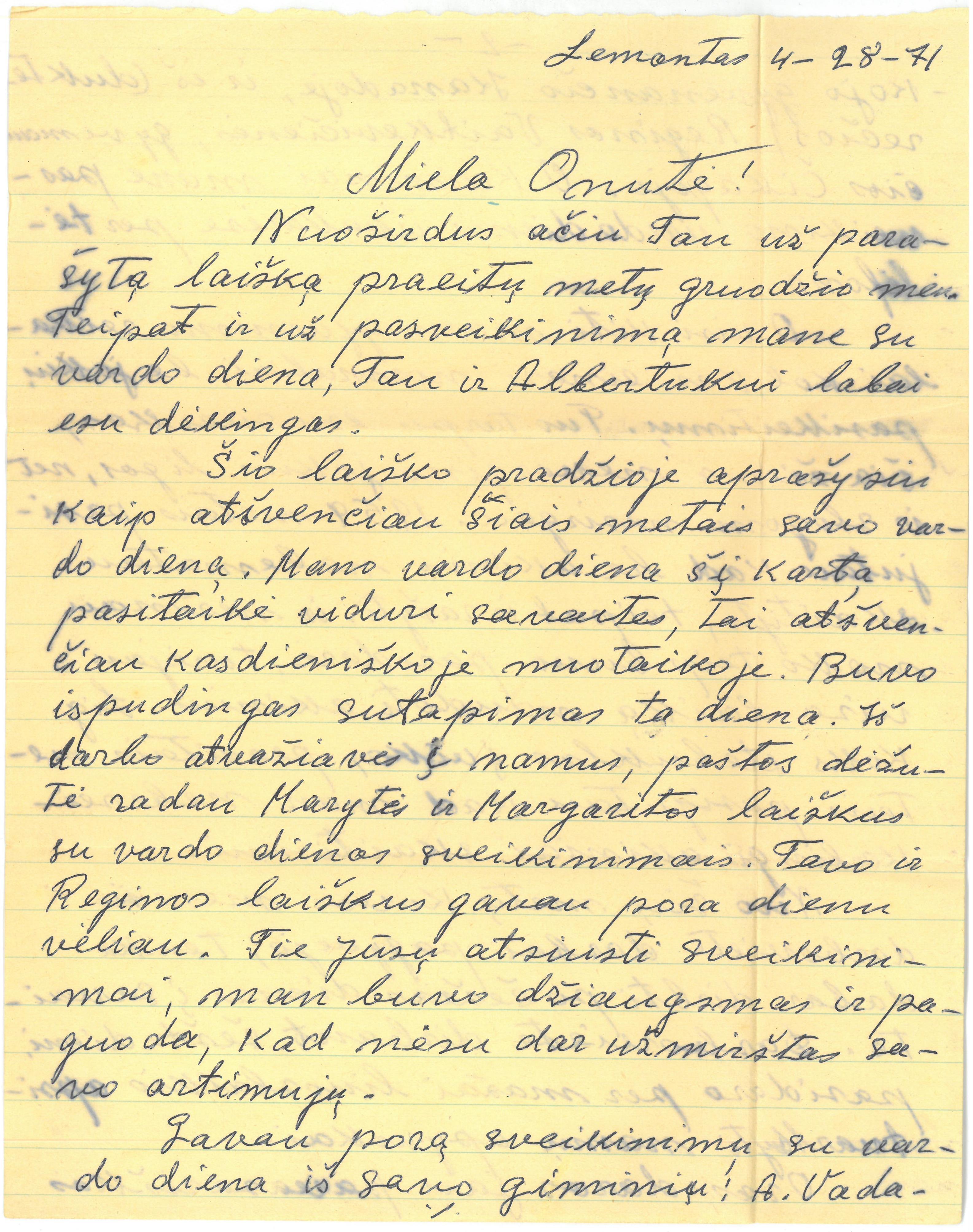 Kazio Balčiūno laiškas žmonai Onai Balčiūnienei. 1971 m. balandžio 28 d.