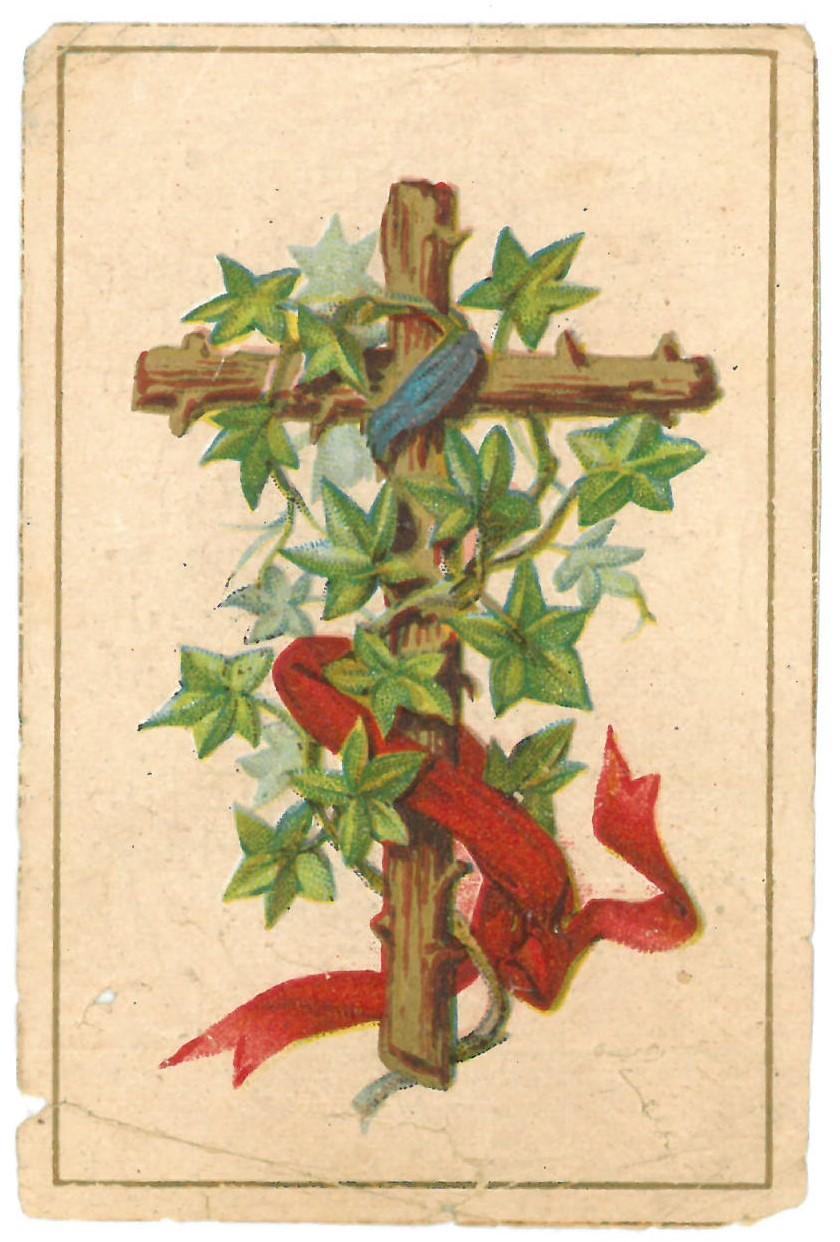 """Religinis paveikslėlis. Kryžius su augaliniais, medžiaginiais motyvais. Kitoje paveikslėlio pusėje – """"Atsidusėjimai su Atlaidais"""""""