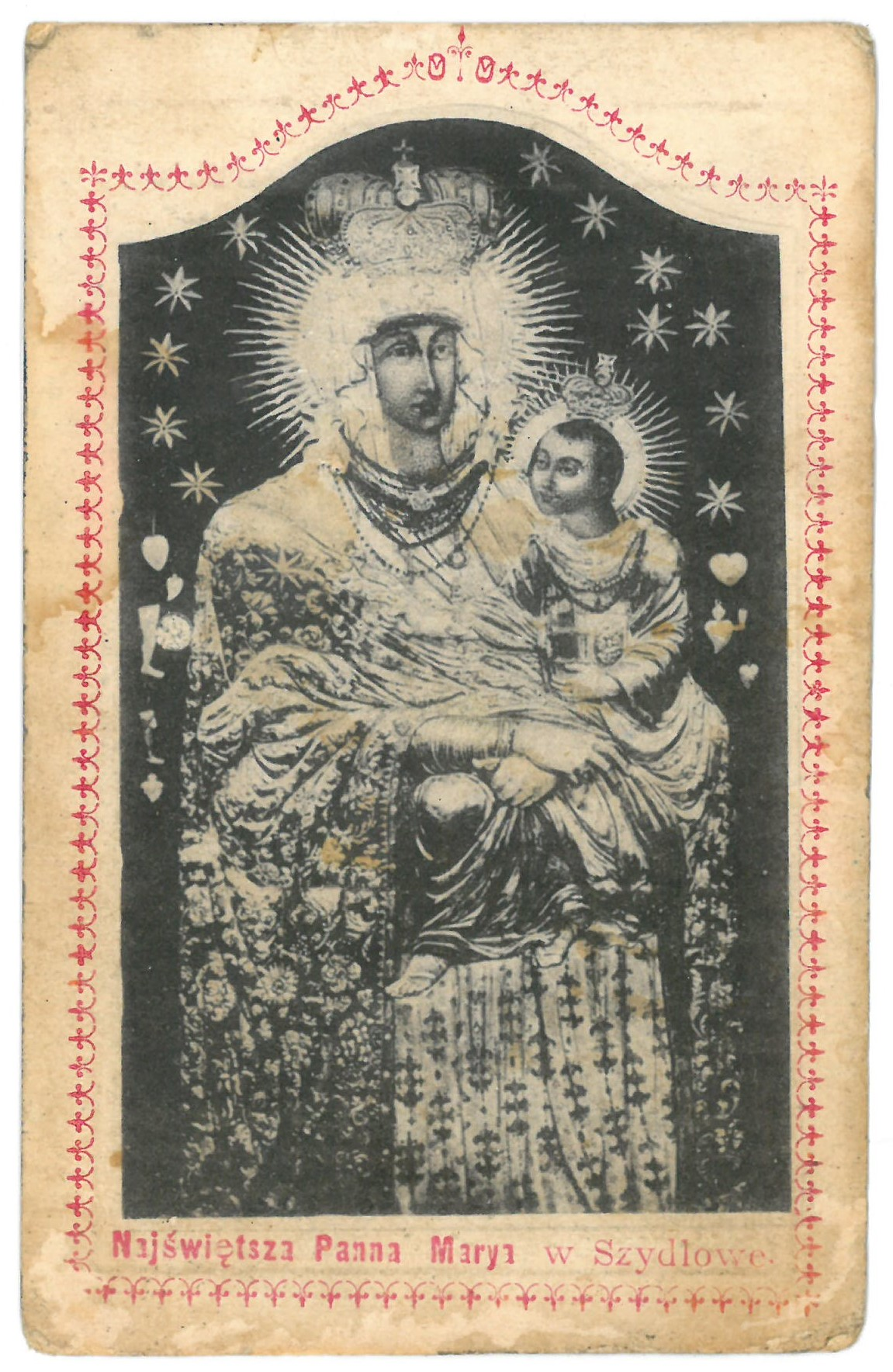 """Religinis paveikslėlis. """"Najswietsza Panna Marya w Szydłowe"""". Kitoje paveikslėlio pusėje – malda"""