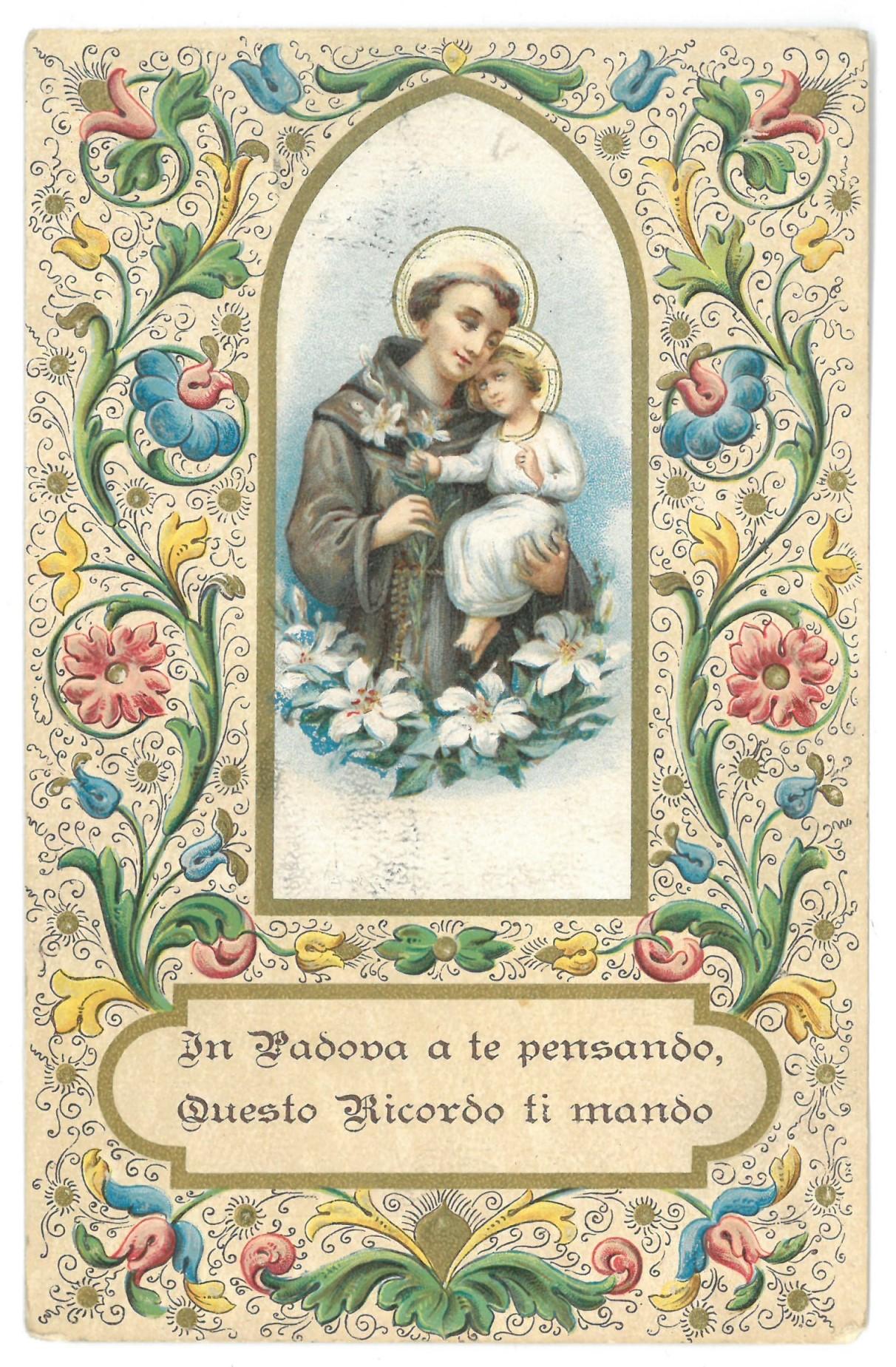 """Atvirlaiškis su religiniu paveikslėliu. """"In Padova a te pensando, Questo Ricordo ti mondo"""""""