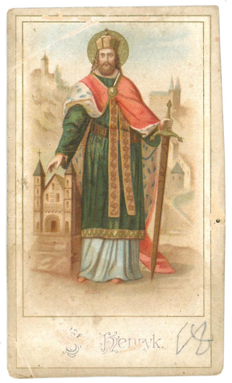 """Religinis paveikslėlis. """"Sw. Henryk"""". Kitoje paveikslėlio pusėje – malda"""