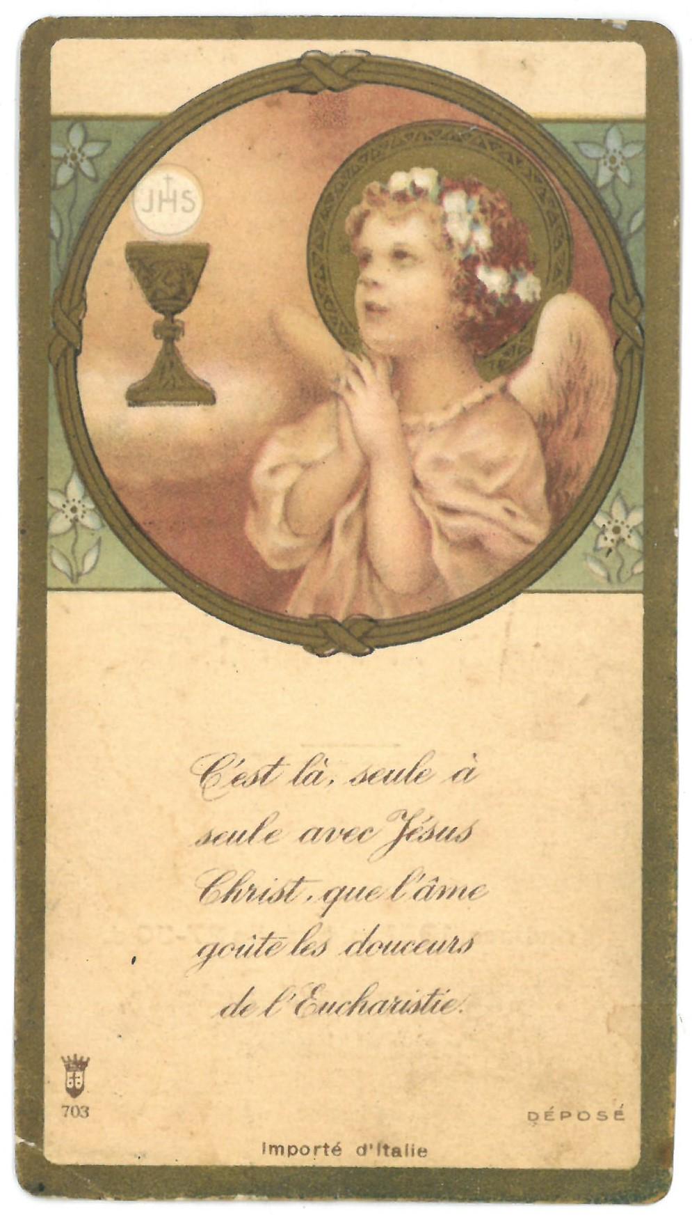 """Religinis paveikslėlis. Priekinėje pusėje – užrašas prancūzų kalba. Kitoje – sentencija, užrašas lietuvių kalba: """"Šv. misijų atmintis"""""""