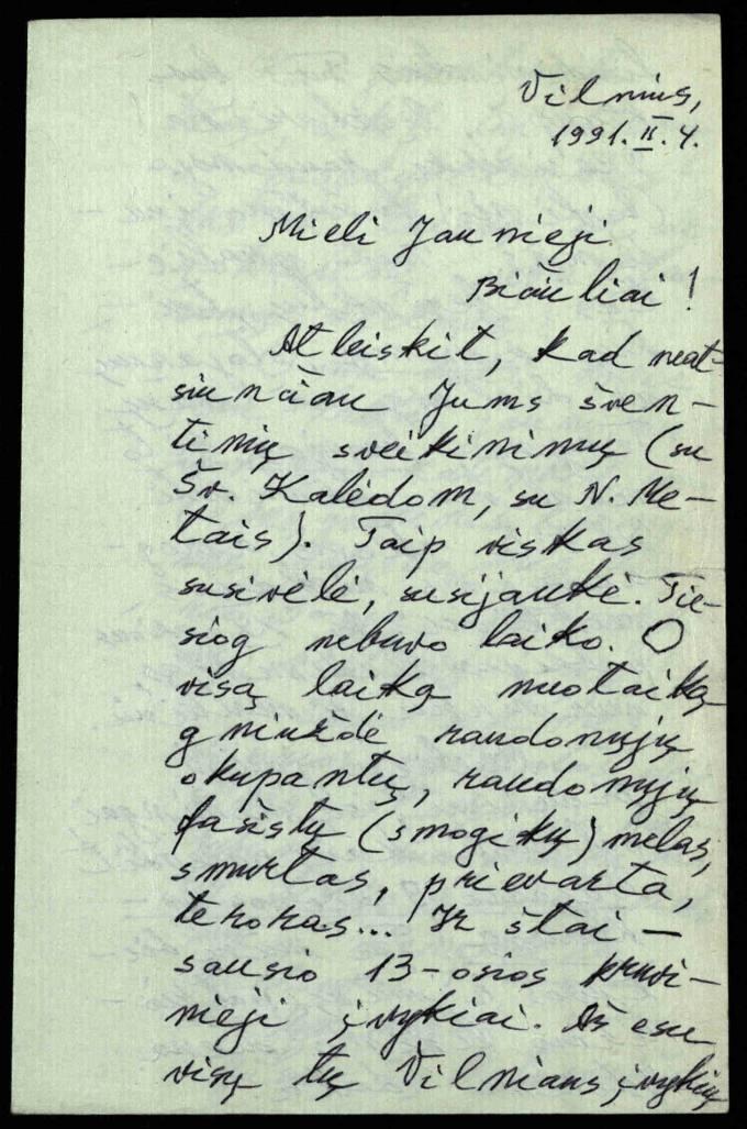 Poeto Eugenijaus Matuzevičiaus laiškas Petro Vileišio gimnazijos jauniesiems literatams