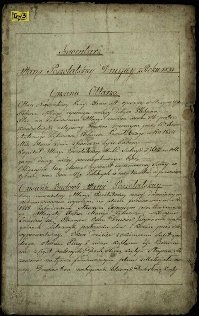 Pušaloto antrosios altarijos 1831 metų inventorius