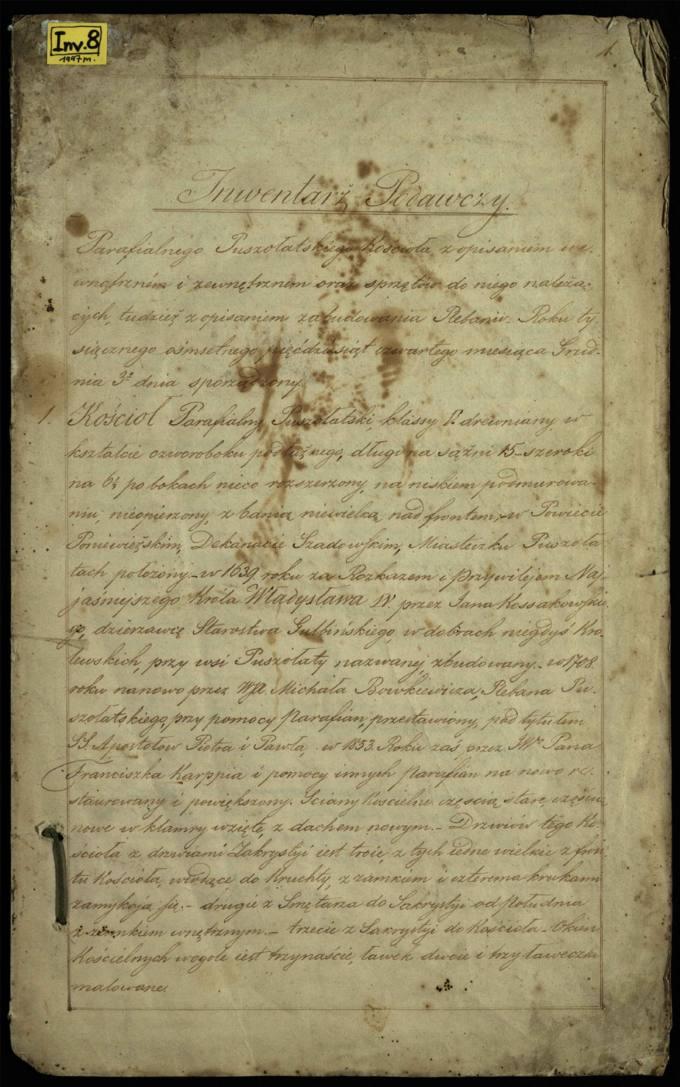 Pušaloto parapijos bažnyčios 1854 metų perdavimo inventoriaus aktas