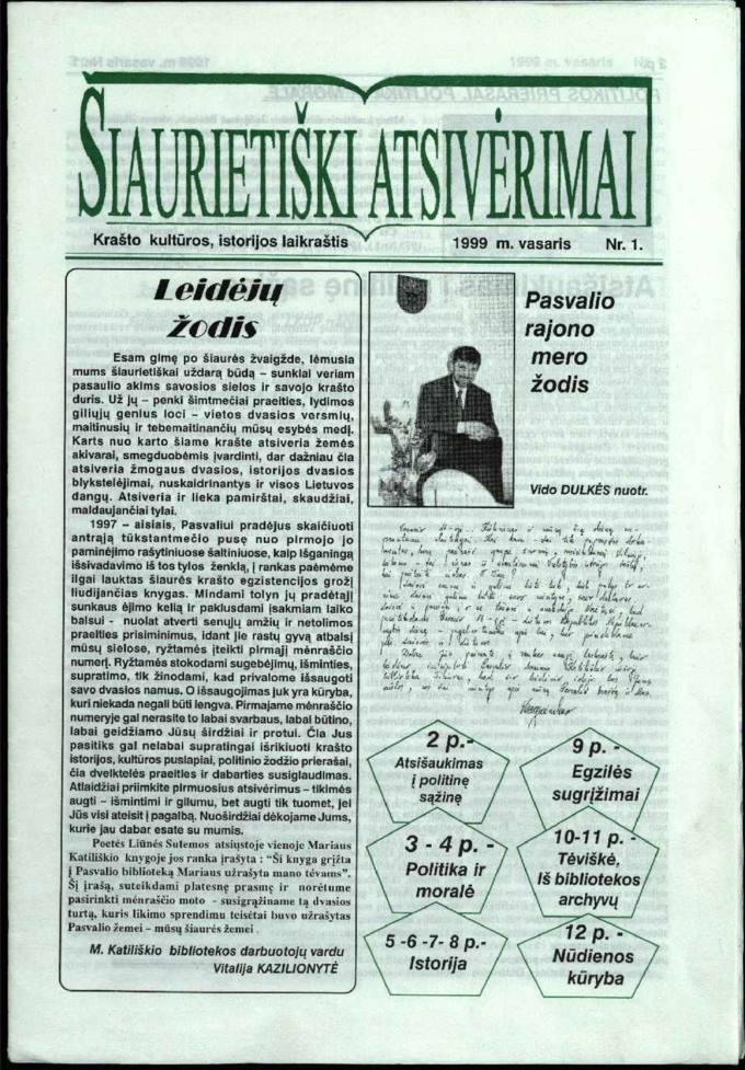 Šiaurietiški atsivėrimai : krašto kultūros, istorijos laikraštis 1999, nr. 1