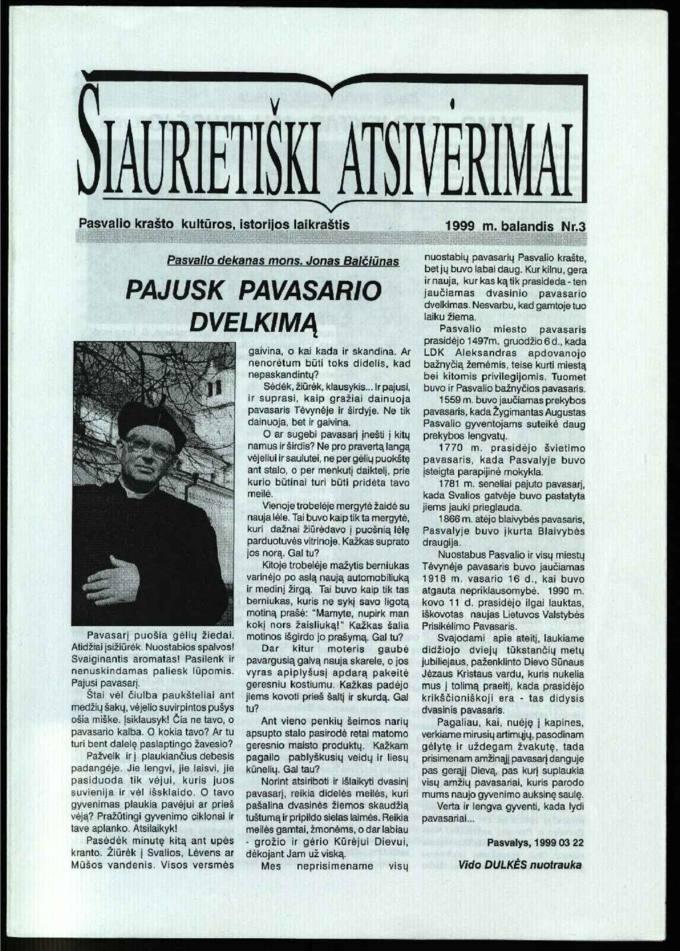 Šiaurietiški atsivėrimai : Pasvalio krašto kultūros, istorijos laikraštis 1999, nr. 3